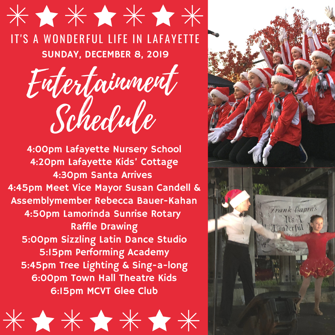 It's a Wonderful Life in Lafayette Holiday Celebration Entertainment Schedule