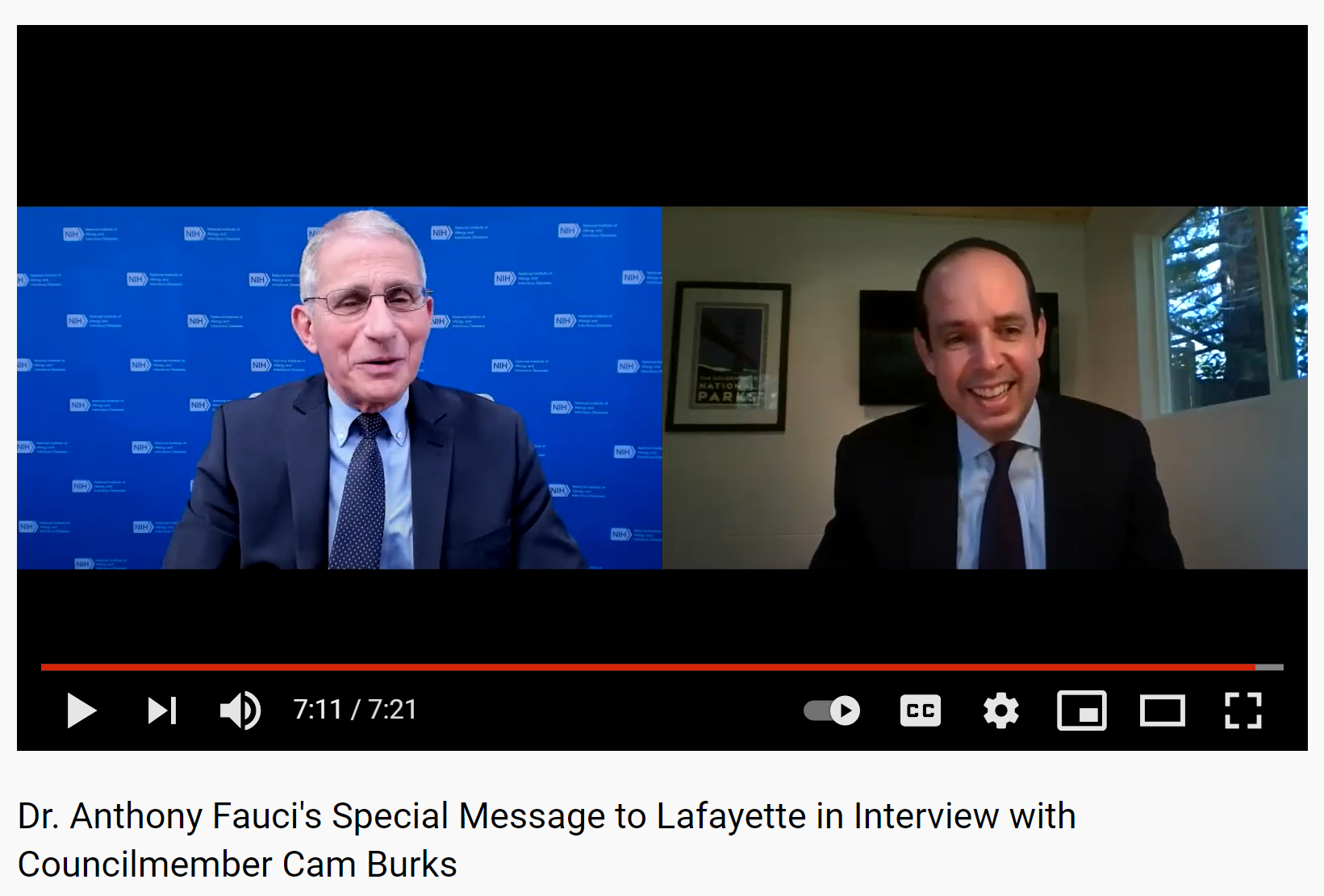 Dr. Anthony Fauci's Special Message to Lafayette in Interview with Councilmember Cam Burks
