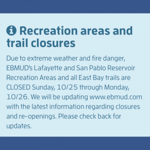 Lafayette Reservoir CLOSED Oct. 25-16